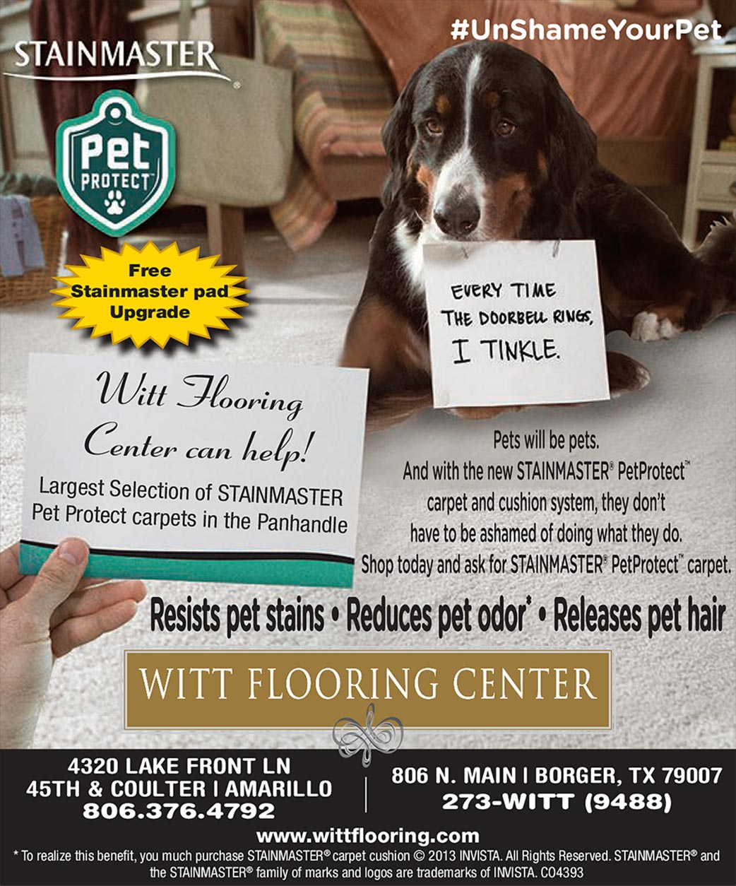 Stainmaster Pet Protect available now at Witt Flooring Center at two convenient locations in Amarillo & Borger