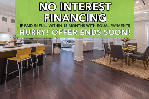 No Interest Financing for 15 months with equal payments this month at Witt Flooring!