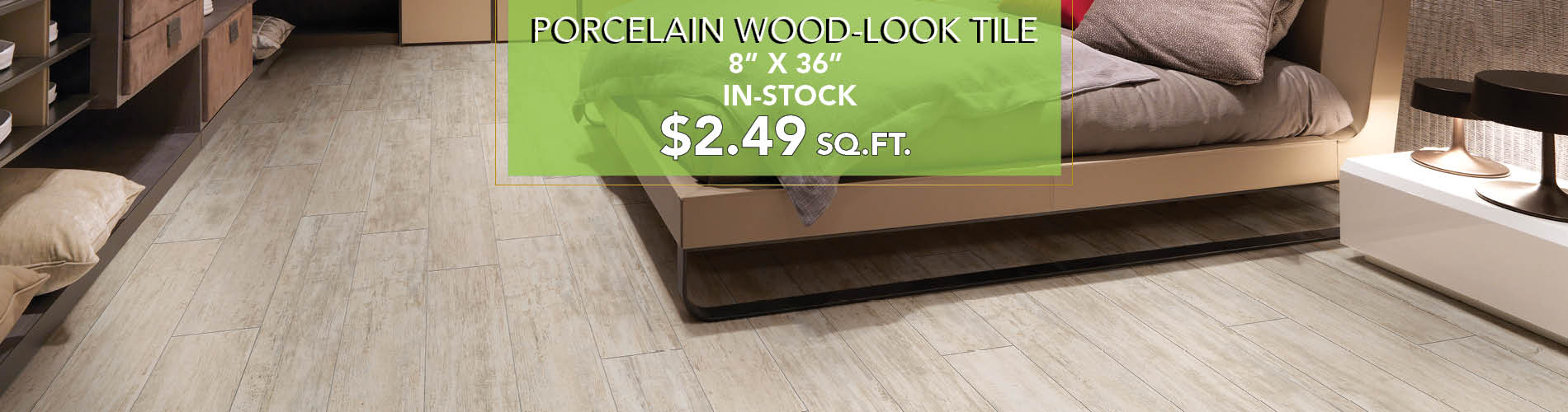 Porcelqin wood-look tile $2.49 sq.ft. this month at Witt Flooring.